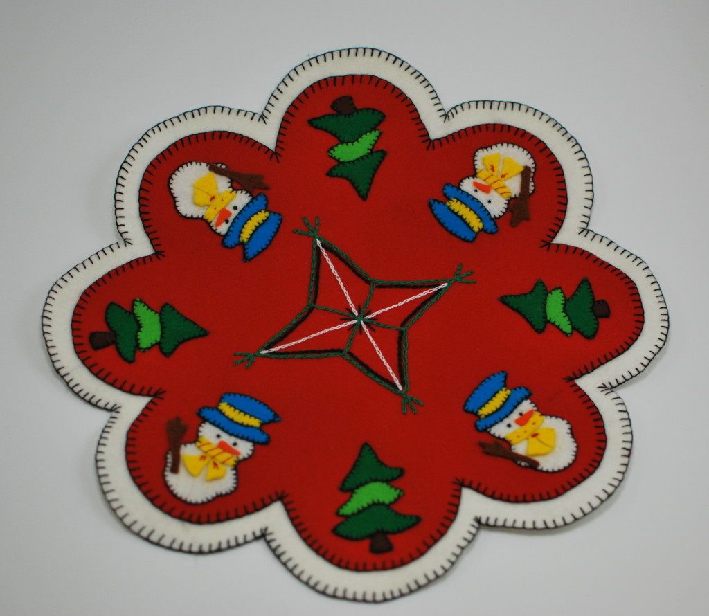 Christmas felt penny rug