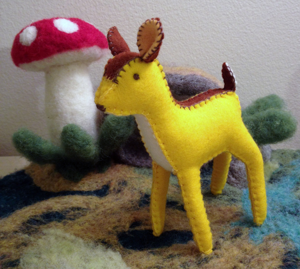 Yellow felt deer