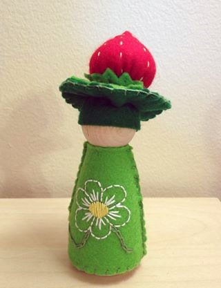 Strawberry felt peg doll