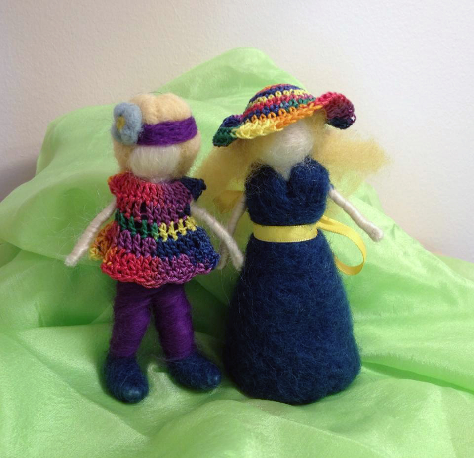 Needle felted ladies with crocheted dress and a hat