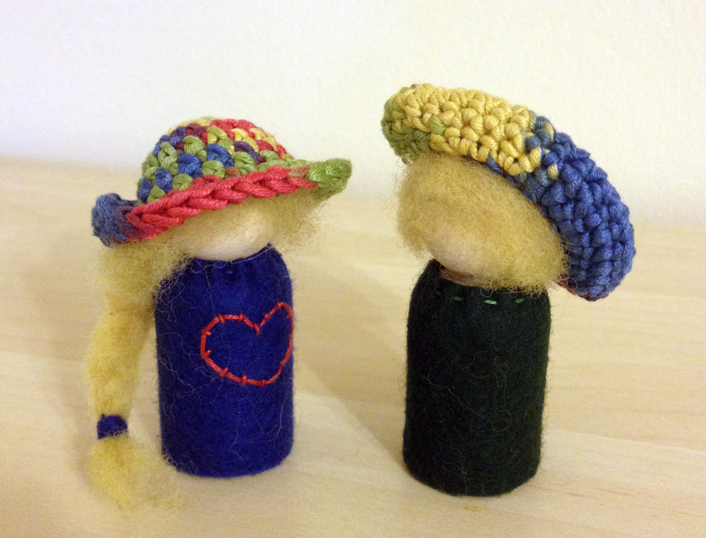 Felt peg dolls with crocheted hats