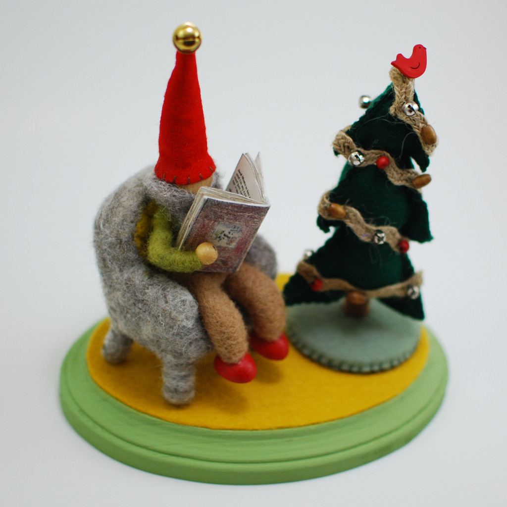 Needle felted gnome storyteller