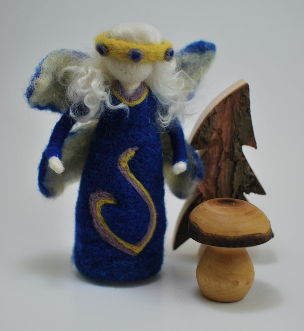 Needle felted winter fairy