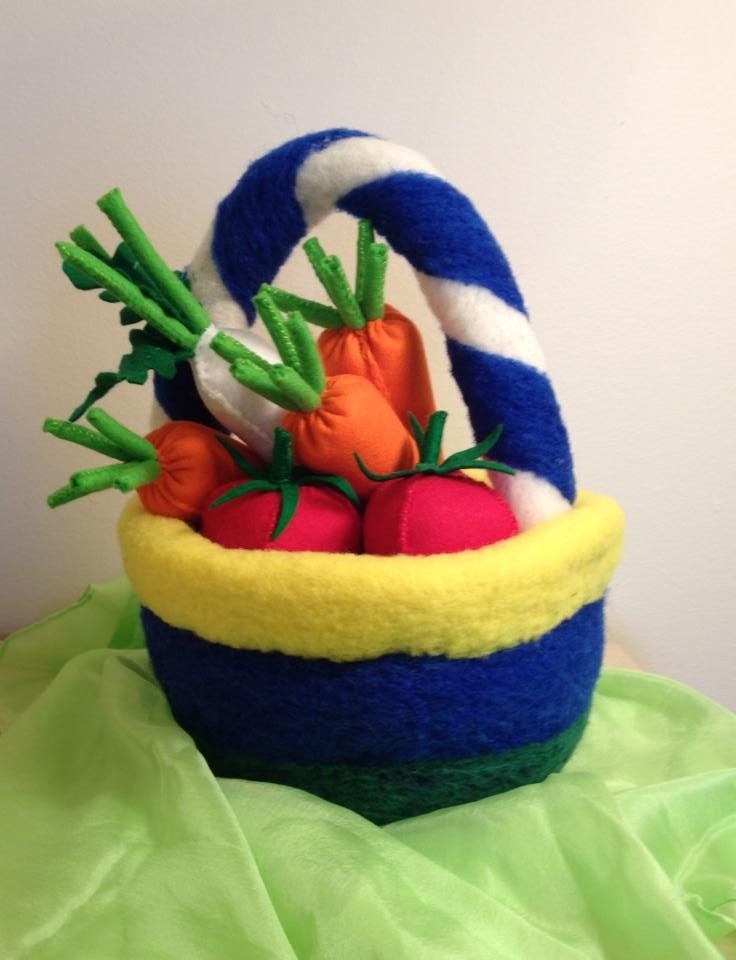 Needle felted basket with vegetables