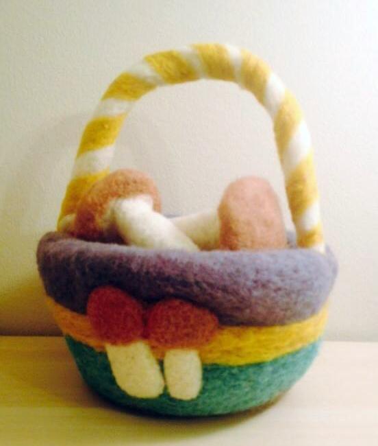 Needle felted basket with mushrooms