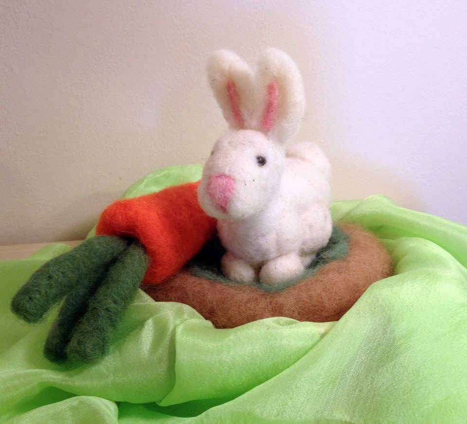 Needle felted bunny with a carrot